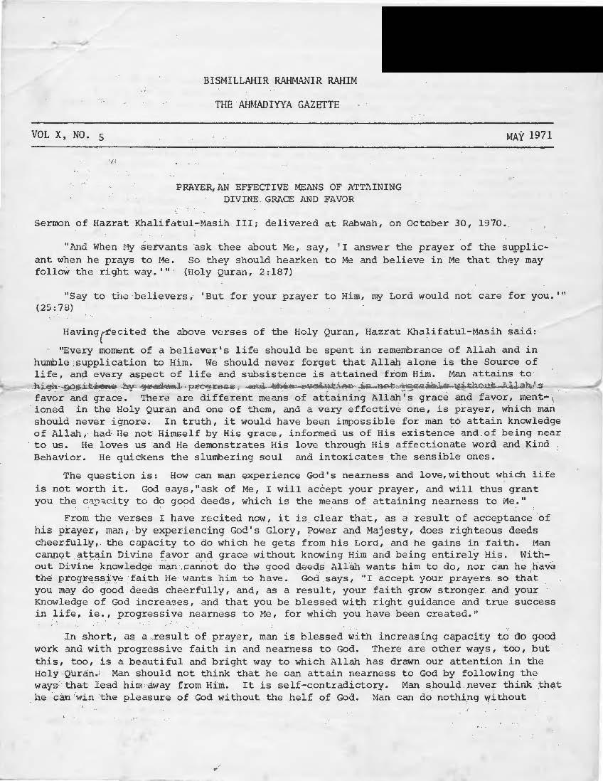1971 Ahmadiyya Gazette Issues
